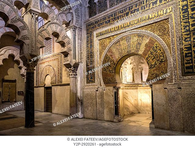 Richly decorated Mihrab in the Great Mosque of Córdoba, Spain