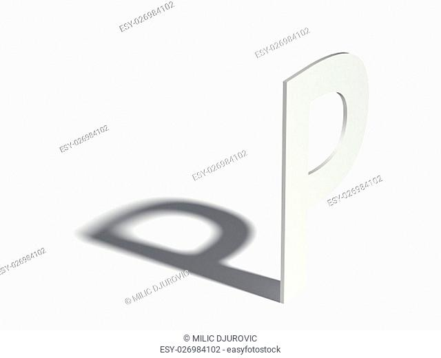 Drop shadow font. Letter P. 3D render illustration isolated on white background