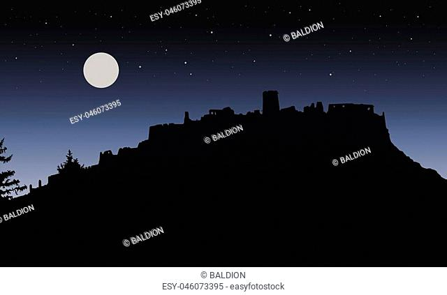 Black realistic silhouette of the ruins of a medieval castle built on a hill under the night sky with a full moon and stars for Halloween