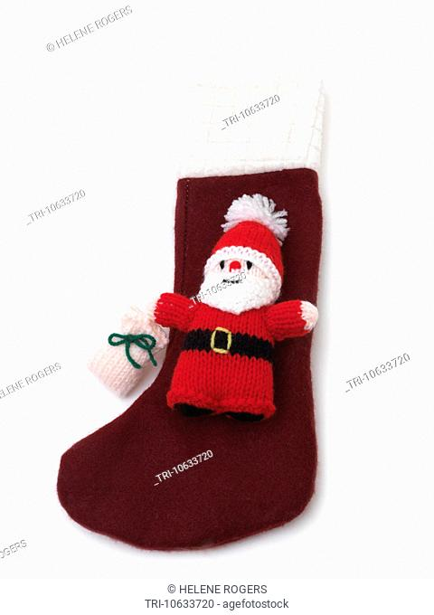 Hand Made Christmas Stocking With Knitted Santa Claus