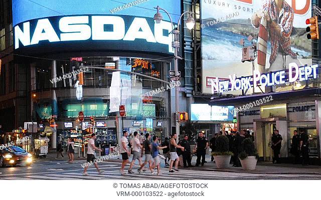 NASDAQ Stock Market site building, 42nd Street, Times Square, New York City, USA
