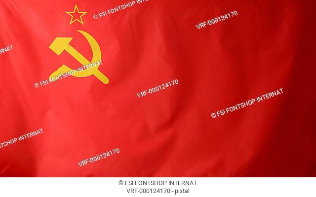 Close-up of a Soviet Union flag waving