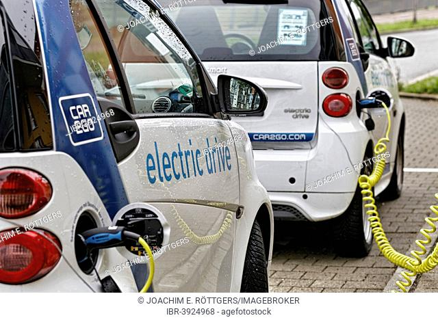 Electric cars, car2go car-sharing project by Daimler in Stuttgart, Baden-Württemberg, Germany