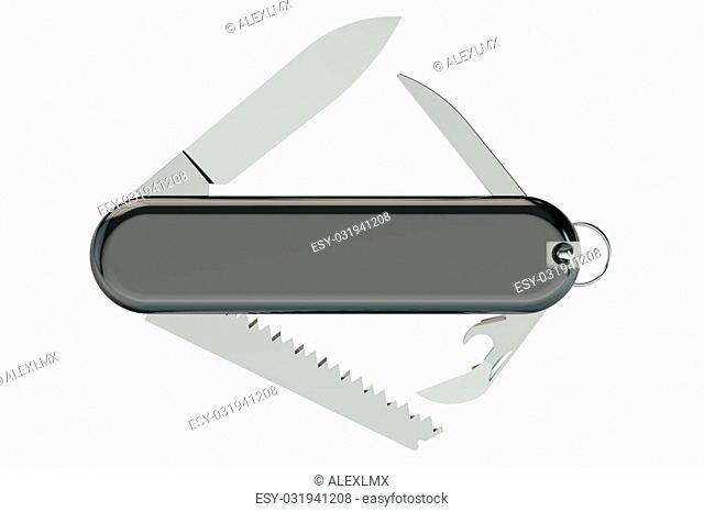 swiss knife isolated on white background