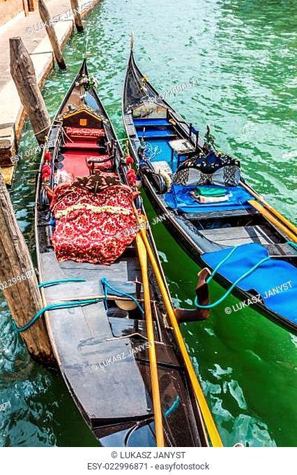 Gondolas in canal -symbol of Venice ,Italy