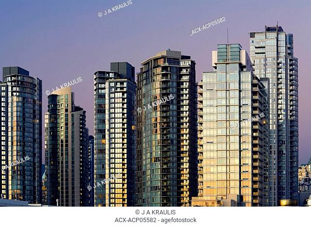Downtown condominiums at sunset, Vancouver, British Columbia, Canada