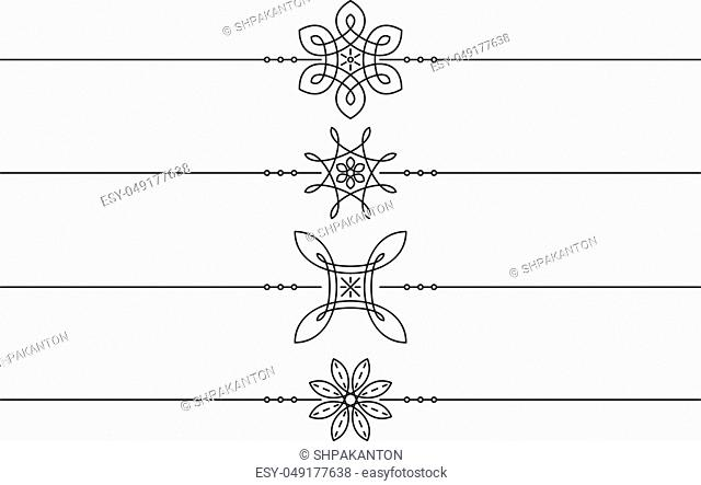 Set of 4 decorative vector mono line style text dividers