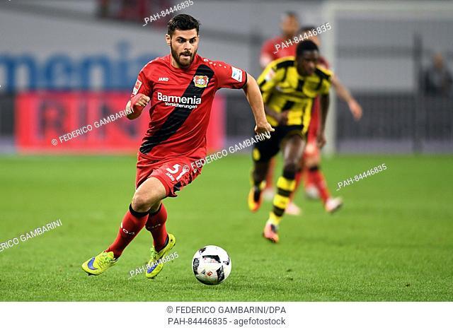 Leverkusen's Kevin Volland in action during the German Bundesliga soccer match between Bayer Leverkusen and Borussia Dortmund at the BayArena in Leverkusen