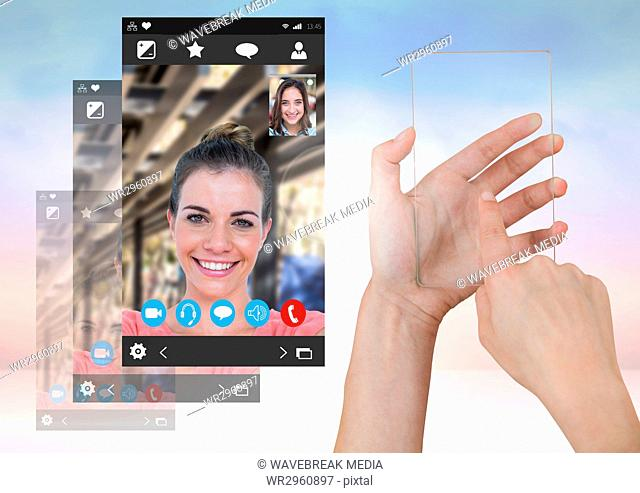 Hand touching glass screen with Social Video Chat App Interface