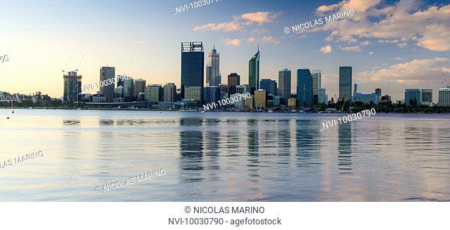 Skyline of Perth along the Swan River, Western Australia
