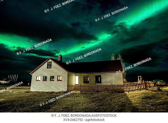 Aurora Borealis, Northern lights phenomenon in winter. Iceland southeast