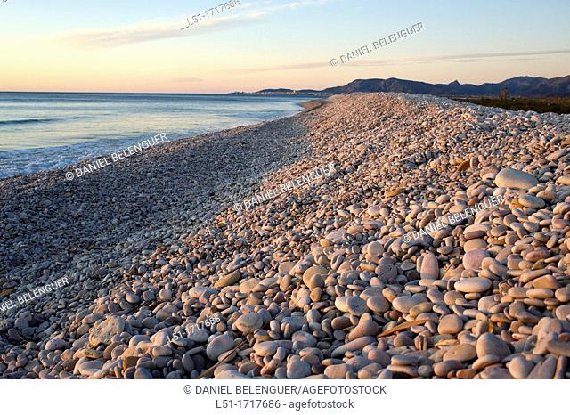 pebble beach, Prat de Cabanes-Torreblanca nature reserve, Castellon, Spain