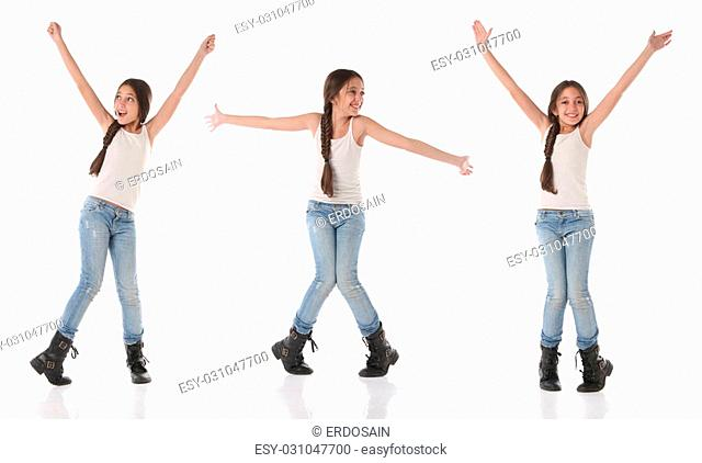 A happy young girl doing different poses. Isolated on white background