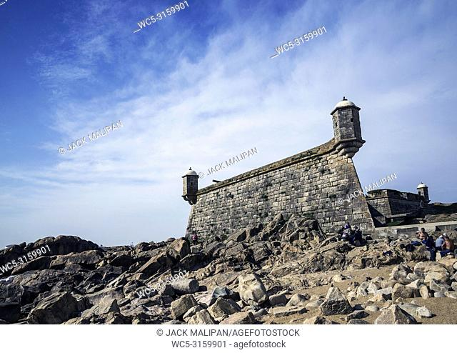 castelo do queijo old fort landmark in foz do douro beach district of porto portugal