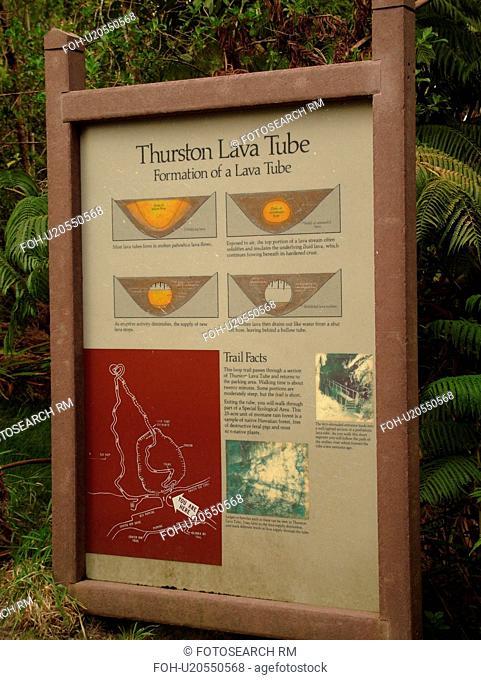 Big Island, Island of Hawaii, HI, Hawaii, Hawaii Volcanoes National Park, Kilauea Caldera, volcano, Thurston Lava Tube, Nahuku, informative sign
