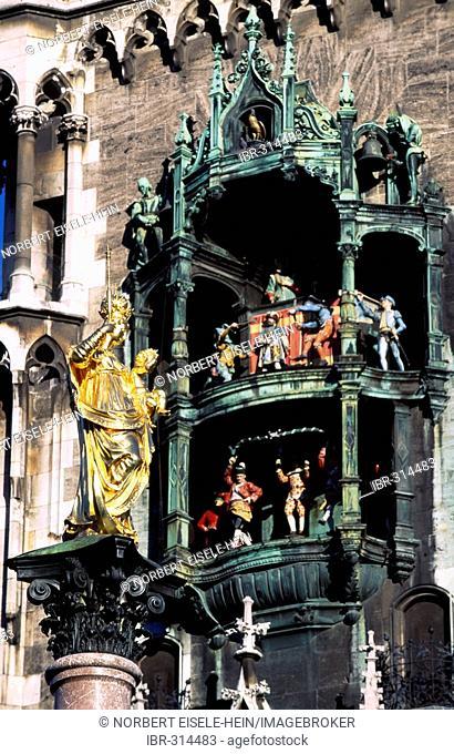 Glockenspiel, Marienplatz, Munich, Bavaria, Germany