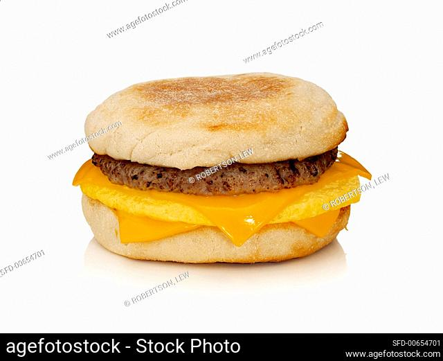 English muffin with beefburger, egg and cheese