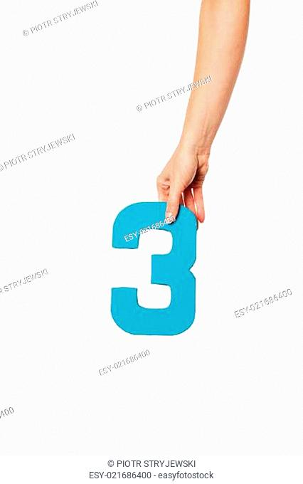 hand holding up the number three from the top