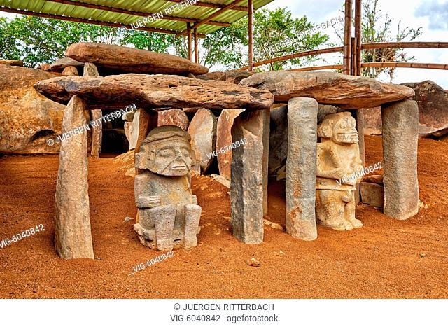 stone figures in Parque Arqueologico Alto De Los Idolos, San Jose de Isnos, San Agustin , Colombia, South America - San Jose de Isnos, San Agustin