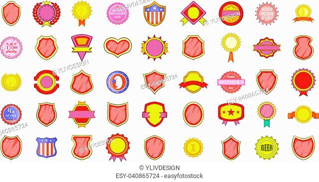 Emblem icon set. Cartoon set of emblem vector icons for your web design isolated on white background