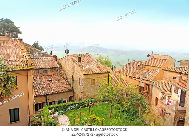 Rooftops and view from the old town of Volterra in Tuscany, Italy