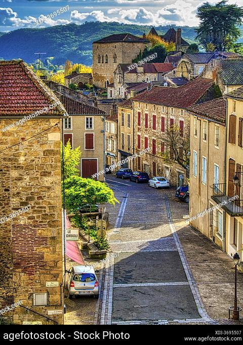 view of Grande-Rue from above, Puy-lEveque, Lot Department, Occitanie Region, France