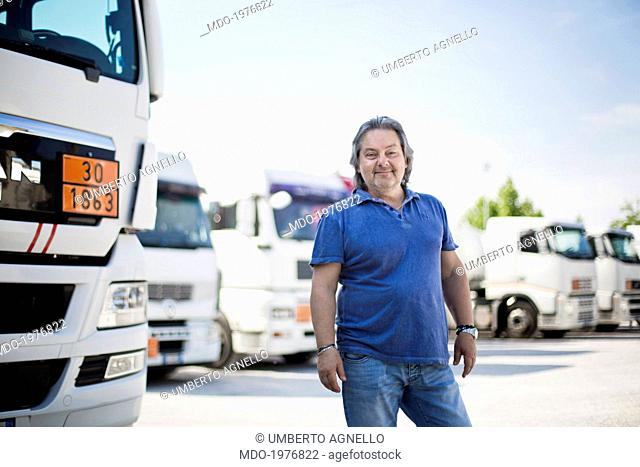 Man in front of a lorry. Campalto (Italy), 10th May 2014
