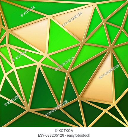 Fabulous triangles pattern in gold. Vector illustration