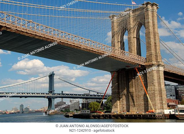 Brooklyn Bridge and, in the background, the Manhattan Bridge over the East River, Downtown East Manhattan.  New York, New York. USA