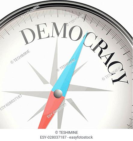 detailed illustration of a compass with democracy text, eps10 vector