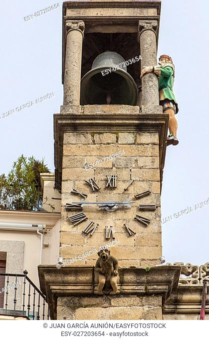 Plasencia City Hall building clock tower with Abuelo Mayorga. The Mayorga Grandfather is a statue that strikes each half hour from tower since 1523, Caceres