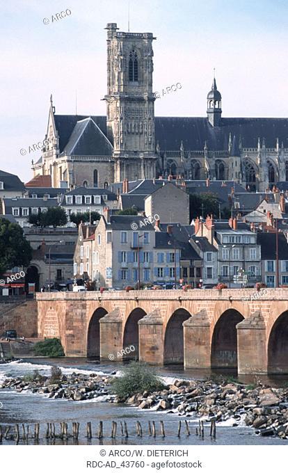 Bridge in front of athedral Saint-Cyr-et-Sainte-Juliette Nevers Burgundy France