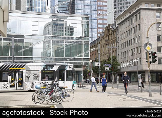 People and Tram; Willy Brandt Platz Square; Frankfurt; Germany