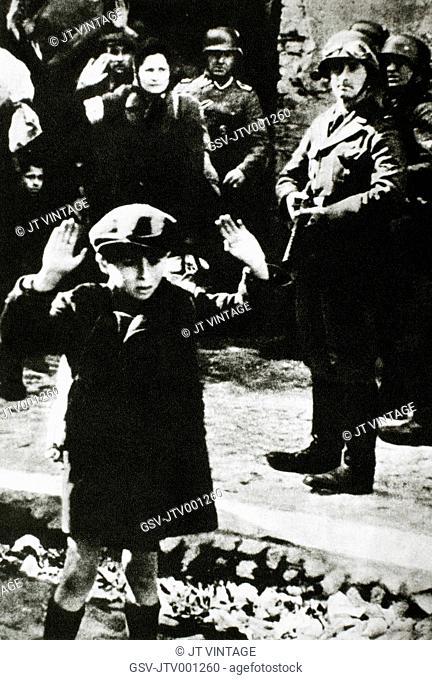 German Soldiers Capturing Jews in Warsaw, Poland, 1940