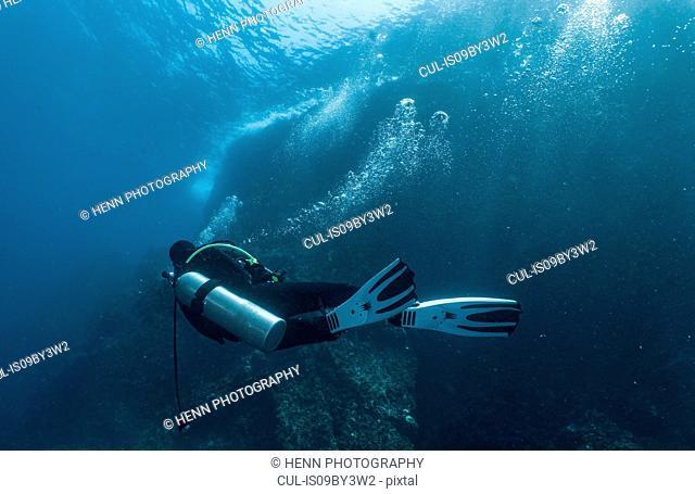 Female scuba diver in strong current, Komodo Island, Nusa Tenggara Timur, Indonesia