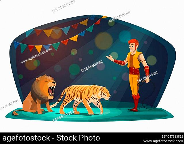 Circus arena and performance show with trained wild animals. Vector big top circus animal tamer with whip performing with roaring lion and tiger in arena...