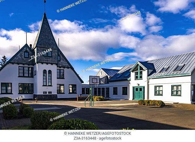 Basketball basket in front of the Landakot school in Reykjavic, Iceland