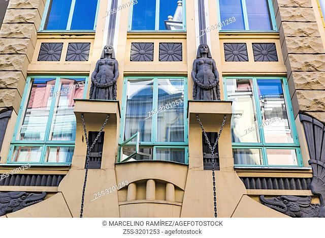 Art Nouveau Building, House on Pikk 18. Tallinn, Harju County, Estonia, Baltic states, Europe