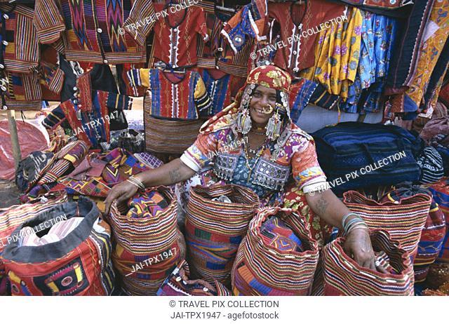 Anjuna Market / Gypsy Vendor Selling Local Crafts, Goa, India