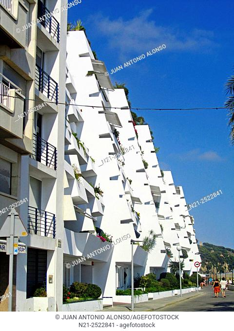 Apartment buildings complex in the Mediterranean village of Sant Pol de Mar. Maresme, Province of Barcelona, Catalonia, Spain, Europe