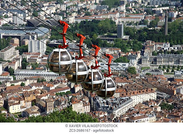 City of Grenoble with les bulles, cable car in the city. Grenoble, Isere, Auvergne Rhone Alpes, France