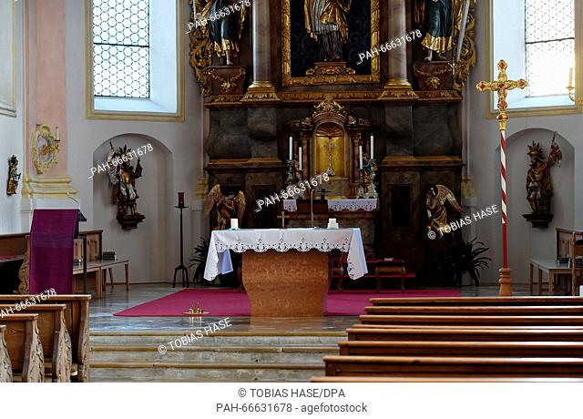 The altar of the St. Martin parish church in Zorneding, Germany, 09 March 2016. Parish priest Olivier Ndjimbi-Tshiende from Congo resigned after receiving death...