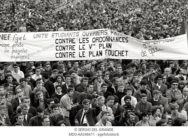 The risk of a revolution in Paris has been averted. A banners is against the politics of the President of the French Republic Charles de Gaulle and the Fauchet...
