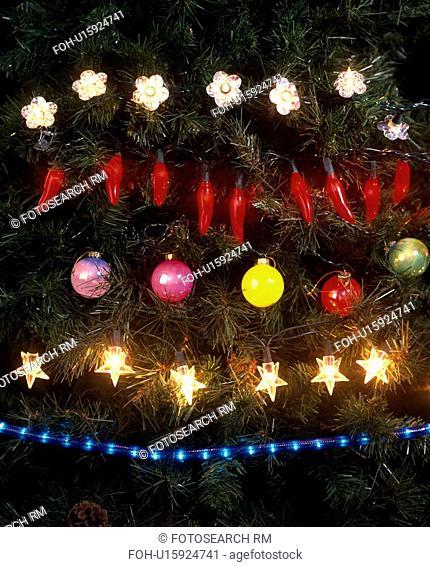 Close-up of sets of Christmas tree lights