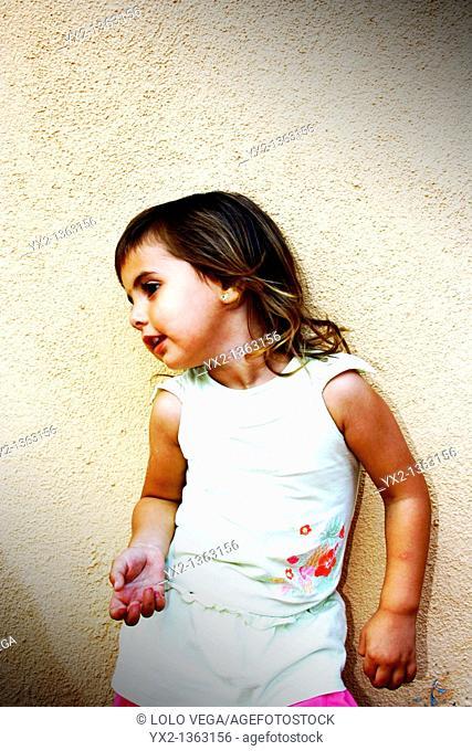 Girl posing in color