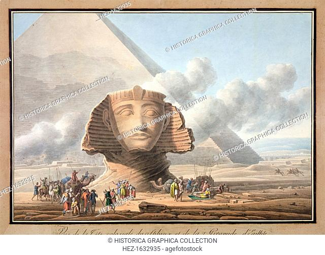 View of the head of the Sphinx and the Pyramid of Khafre, Giza, Egypt, c1790. The Sphinx is located on the Giza Plateau with the three pyramids of Khufu...