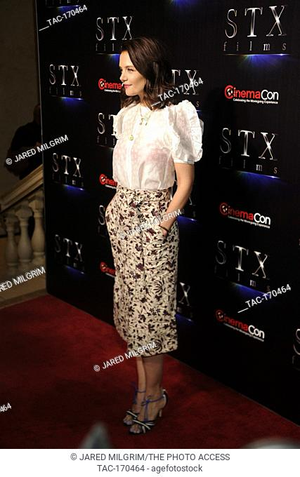 "Actress Katie Holmes arrives at the STXfilms presentation red carpet for CinemaCon's """"The State Of The Industry: Past, Present and Future"""" at The Colosseum at..."