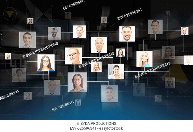 business, people, communication, social network and technology concept - contacts icons over dark blue background