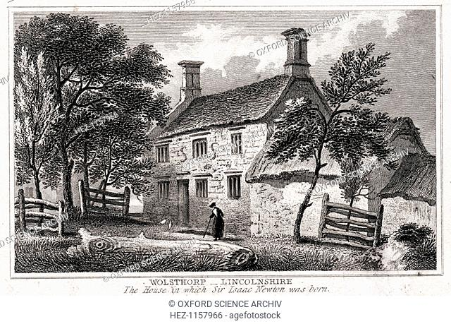 Woolsthorpe Manor, near Grantham, Lincolnshire, birthplace of Sir Isaac Newton, early 19th century. English scientist and mathematician Isaac Newton's...