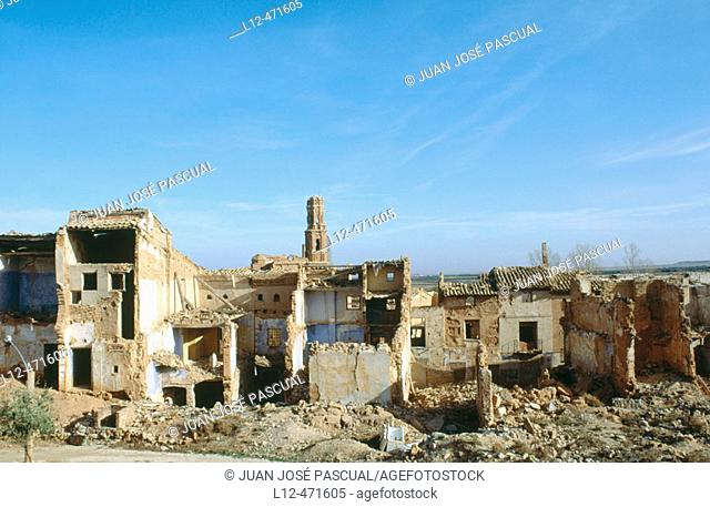 Ruins of old Belchite, destroyed during the Spanish Civil War. Zaragoza province, Aragón, Spain